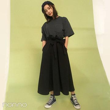 鈴木友菜はniko and...の無地Tに、KBFのスカート&コンバースで初夏コーデ!【モデルの私服スナップ】