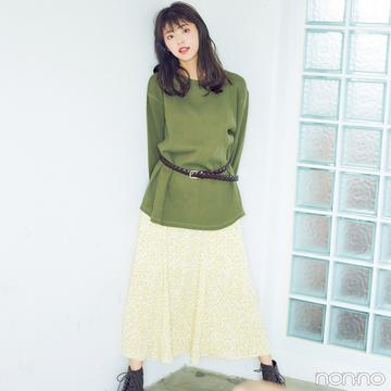 GUのメンズトップスと花柄スカートで最旬ミックスコーデ【毎日コーデ】