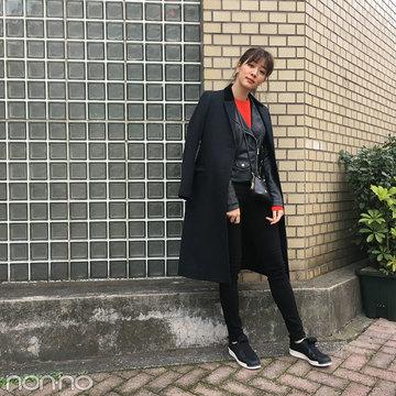 岡本杏理はZARAのライダースをコートイン&UNIQLOの赤ニットをポイントに【モデルの私服】