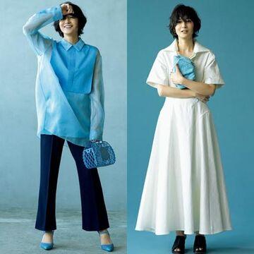 富岡佳子さんが着こなす大人の着映えカラー「心惹かれるブルー」