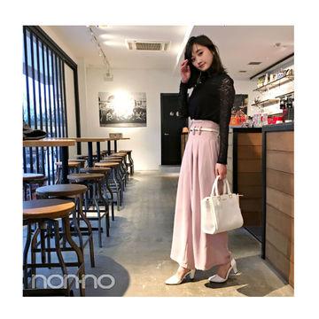 毎日コーデ★鈴木友菜は黒×くすみピンクで大人可愛い配色♡