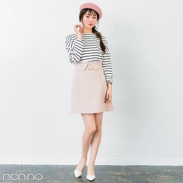 きれいめミニ丈の台形スカート、脚がキレイに見えるコーデはコレ!