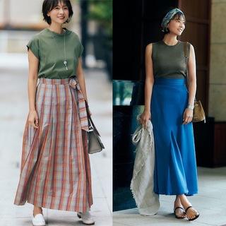 ロングスカートの着映え効果は絶大!2020年夏のロング&マキシ丈スカートまとめ|40代ファッション