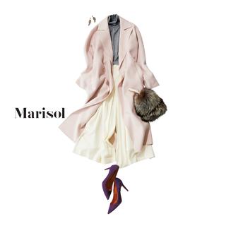 冬の街に映える淡ピンクの甘めコートには揺れるワイドパンツで上品に【2018/1/10コーデ】