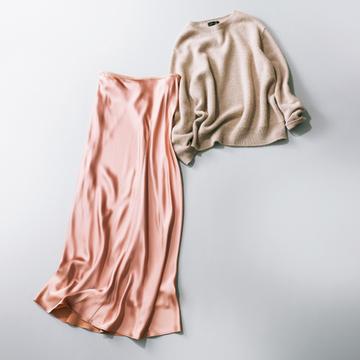 「ゆったりニット」+「薄手マキシスカート」でたおやかに【秋の品格ワンツーコーデ】