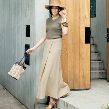 【洗練ナチュラルカラー服】ラスパイユのノースリーブリブニット×リネンマキシスカート