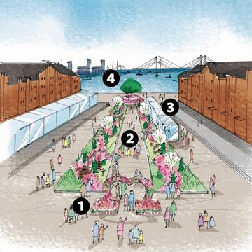 港の見えるフラワーガーデンでは、「②トピアリーエリア」や「③カフェエリア・HANABAR」、「④マーガレットの丘エリア」などフォトスポットが満載!