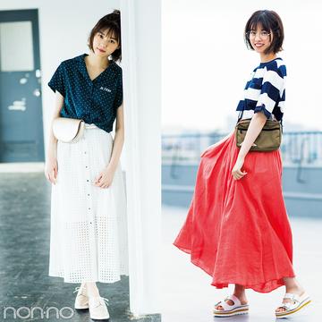 西野七瀬がお手本♡ 夏のロングスカートはカジュアルコーデが可愛い!