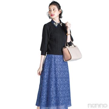 ビジューつきニット&レーススカートで大人っぽ女子会スタイル【毎日コーデ】