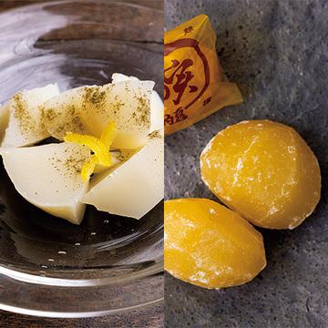 ていねいに作られた逸品。京都くりやの「金の実」とかぎ甚の「白味噌水ようかん」【一流店の美味をお取り寄せ〈京都編〉】