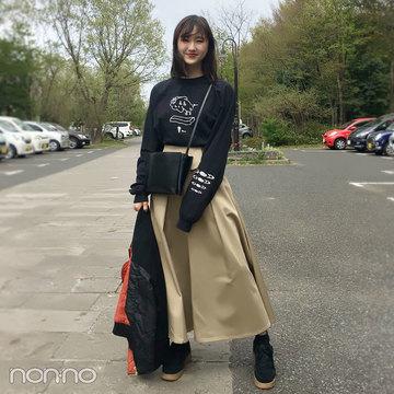 鈴木友菜のコーデの主役はRIM.ARKのチノスカート♡ ロンTで今っぽ可愛く!【モデルの私服スナップ】