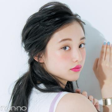 黒髪のヘアアレンジ★おでこ出しは、ワックスで3D感をプラスするのがカギ!