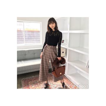 鈴木友菜はチェックパンツを黒レースで女っぽく♡ 【毎日コーデ】