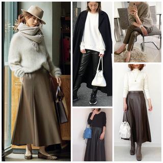 【エコレザー】のスカート&パンツで、冬コーデの鮮度がアップ!|40代ファッションまとめ