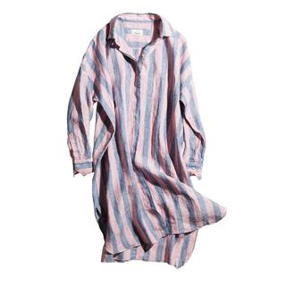 アラフォーのリゾートスタイルに。イタリアンリネンのロングシャツ