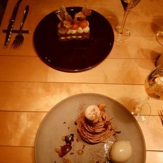 モンブランケーキとシャンパンのマリアージュ…