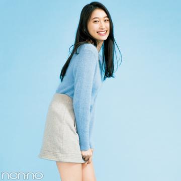 大野いとの台形ミニスカートは、パステル×グレージュの冬色コーデ♡