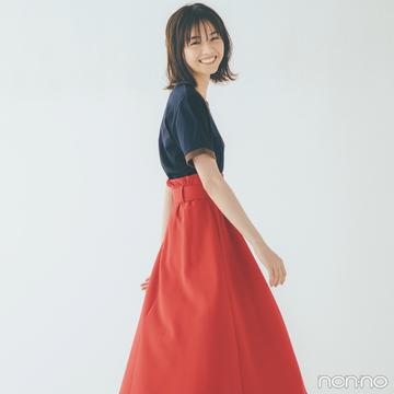 西野七瀬は赤のフレアスカートを主役にフレンチガール気分!【毎日コーデ】