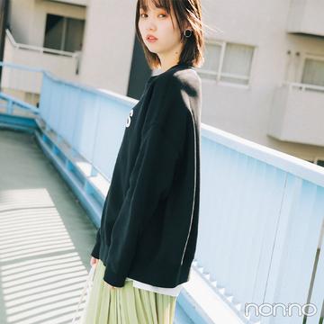 きれい色スカートとメンズっぽスウェットのMIX感が最高!【毎日コーデ】