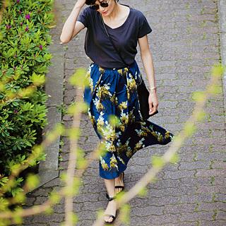 ■ネイビーの花柄スカート