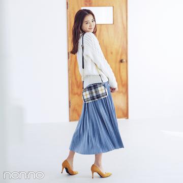 ざっくりニットとベロアスカート、冬素材ミックスがおしゃれ【毎日コーデ】