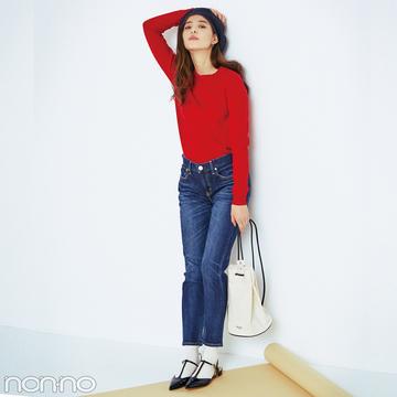 新木優子が着こなすレッドカードのアニバーサリー♡ フレンチ風デニムコーデにきゅん!