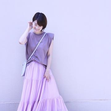 ZARAの細見えパワーショルダートップスと、きれい色のひらりんスカート♡