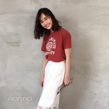 鈴木友菜はレーススカート×Tシャツで上手にカジュアルMIX【毎日コーデ】