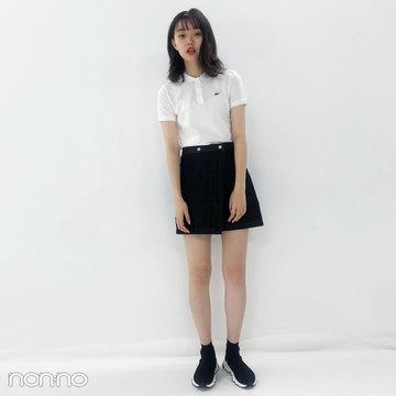 今日の愛美はラコステ×バレンシアガ×韓国で買ったミニスカート♡【モデルの私服スナップ】