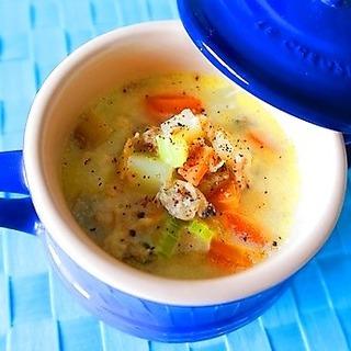 具だくさんあさり豆乳スープで、翌朝スッキリむくみ解消!