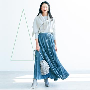 【50代の小柄さんコーデ術】広がるプリーツスカートですっきり見えする「円錐形」コーデ