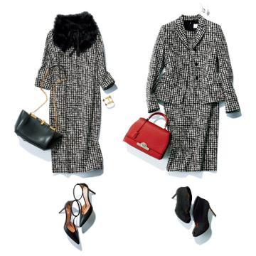 【小物で簡単にビジネスドレスアップコーデ②】ハウンドトゥース柄のジャケット×ワンピース