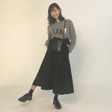 鈴木友菜の秋コーデが可愛い! ワイドスカートにニットをイン★【モデルの私服】
