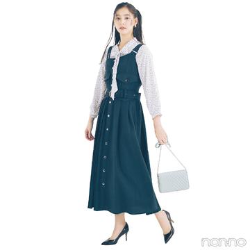 新木優子はボタンつきジャンスカでちょっぴりレトロな春スタイル【毎日コーデ】