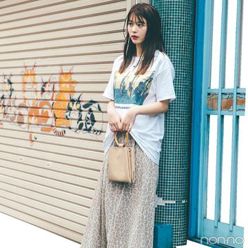馬場ふみかはTシャツ+レオパ柄スカートで秋にシフト!【毎日コーデ】