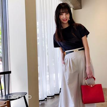 新川優愛はとろみワイドパンツをお姉さんっぽく♡【毎日コーデ】