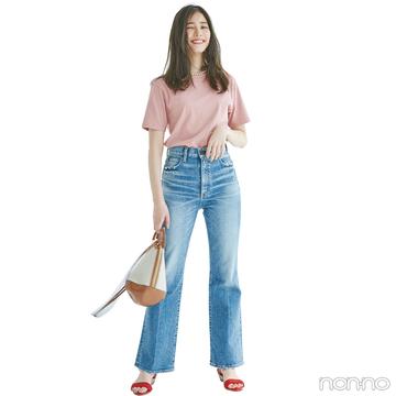 新木優子はピンクのTシャツ+デニムで大人の甘カジュアル!【毎日コーデ】