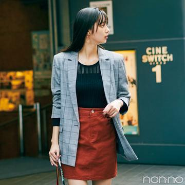 【水曜日】新川優愛はチェックのジャケットでちょい大人コーデ♡