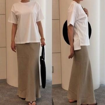 風通しよく今どき感のある「SACRA」リネンスカートをバイヤーが実際に着てみました!