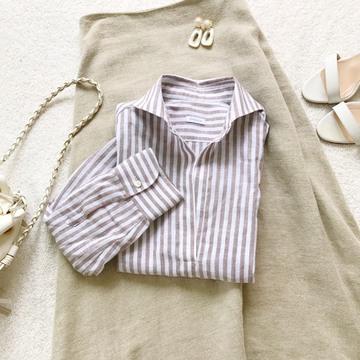 ストライプのリネンシャツ
