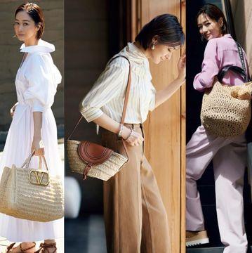 富岡佳子のリュクスな『かごバッグ』から始める夏のおしゃれ