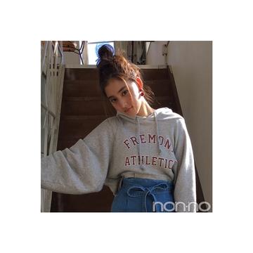 新木優子はロングのデニスカでパーカを女っぽく【毎日コーデ】