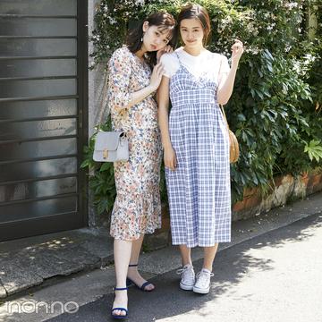 韓国ファッション★花柄&チェックのスタイルアップワンピがトレンド!