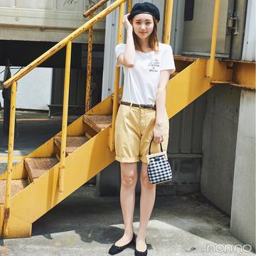夏のショートパンツ&白Tシャツはフレンチテイストで着るのが可愛い!【毎日コーデ】