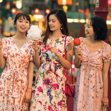 お祭りに映える花柄ロングワンピ&夜カフェに映える黒系ワンピ6選!