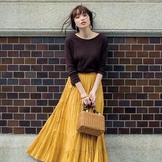 甘い「きれい色のロングフレアスカート」アラフォー的着回し術!