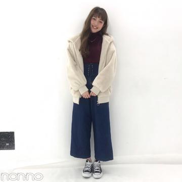 松川菜々花の冬コーデはtitty&Co.のニット&デニムでカジュアルに♡【モデルの私服スナップ】