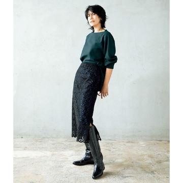 「地曳いく子×éclat」タックスリーブプルオーバー&アイレットレーススカートが大人の女性に最適!