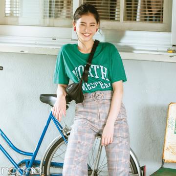 新木優子が10月まで着回す! グレンチェックのワイドパンツ♡
