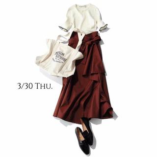 """""""小ぶりなリブニット&ドラマティックなスカート""""でスタイル美人に"""